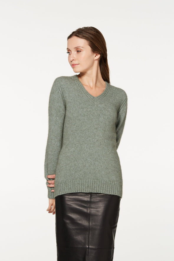 Mint Rib Detail V-Neck Jumper