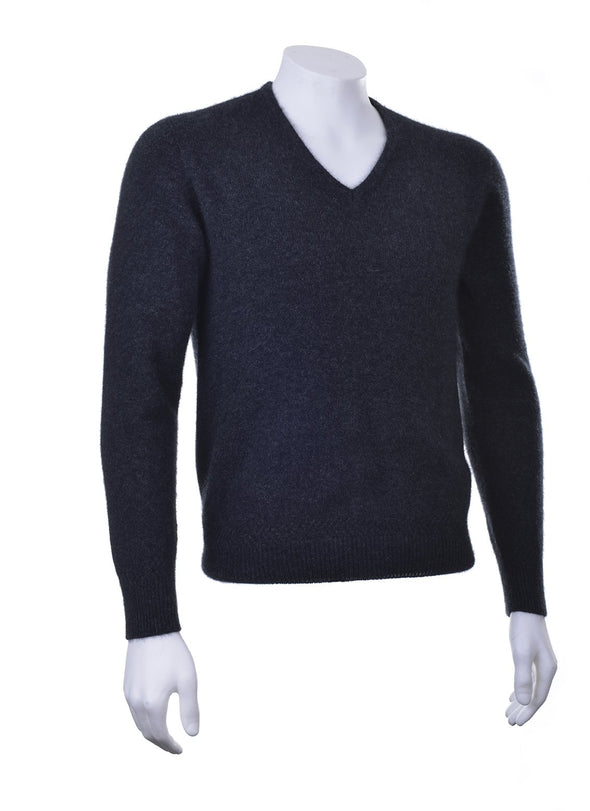 Charcoal Plain Possum V Neck Jumper Possum Merino