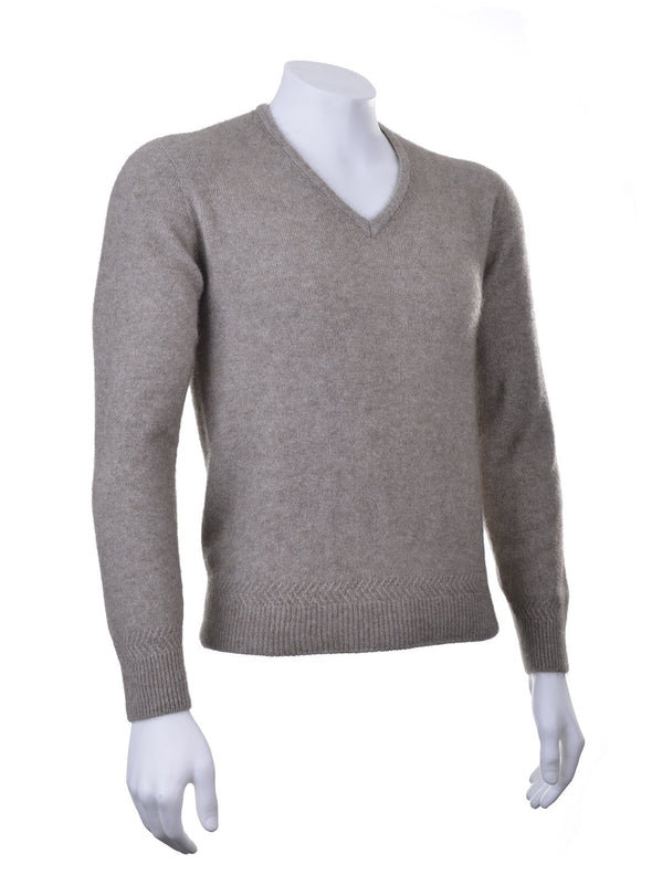 Mocha Plain Possum V Neck Jumper Possum Merino