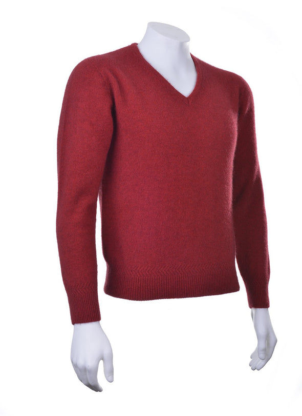 Red Plain Possum V Neck Jumper