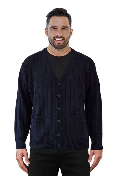 Navy V Neck Cardigan - Tradewinds By Ansett