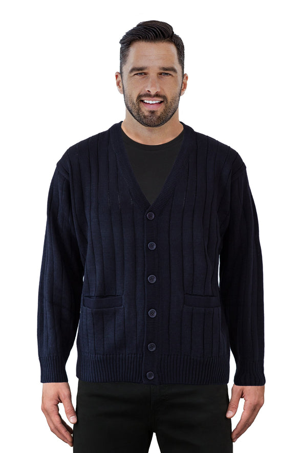 Navy V Neck Cardigan - Tradewinds By Ansett Ansett Plain Knitwear
