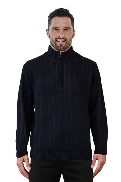 9905 Black Half Zip - Tradewinds By Ansett Ansett Plain Knitwear