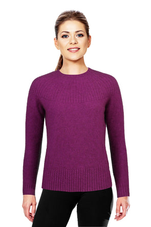 Berry Possum Merino Yoke Neck Cable Jumper Possum Merino
