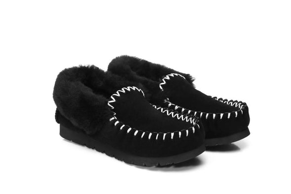 Ladies Black Sheepskin Moccasins Ugg Boots