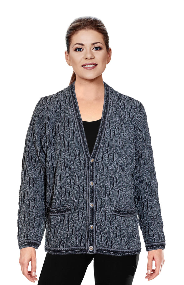 Wave - Black V Cardigan
