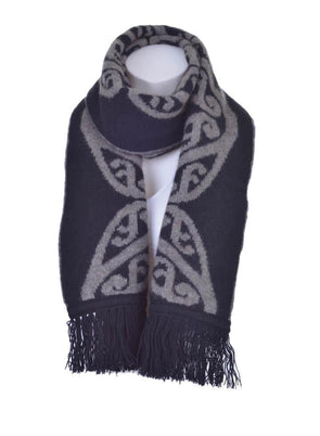 Black Possum Merino Koru Fringed Scarf Possum Accessories