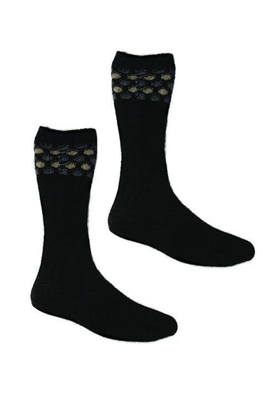 Black Possum Merino Wave Trim Socks