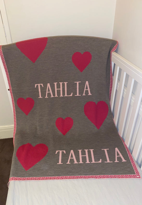 Merino Wool Pink Heart Name Blanket