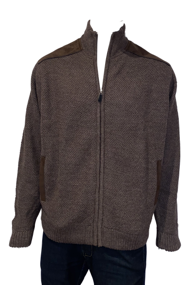 Bush Lined Zip Jacket With Shoulder Patches Ansett Plain Knitwear