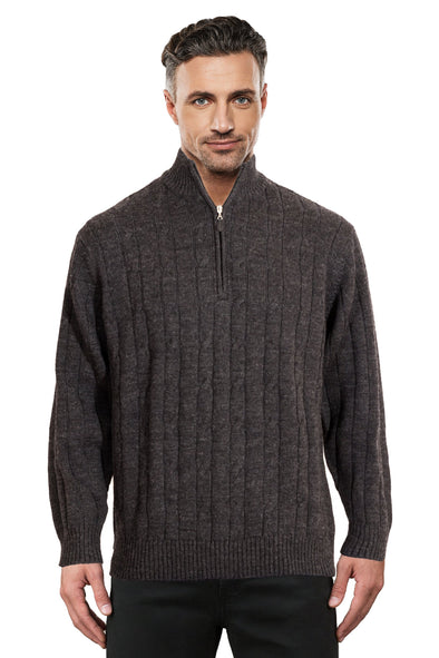 Charcoal Half Zip Cable Jumper Ansett Plain Knitwear