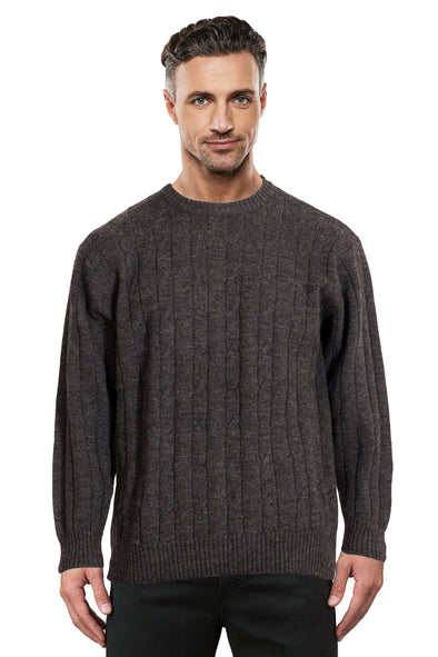 Charcoal Cable Crew Neck Jumper Ansett Plain Knitwear