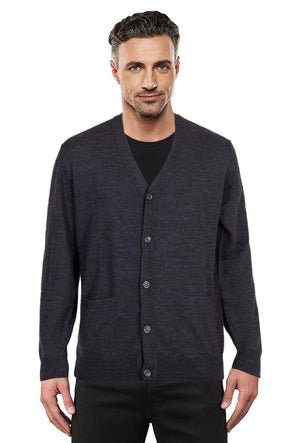 Fine Weight Charcoal Merino Cardigan - Size S Only Left