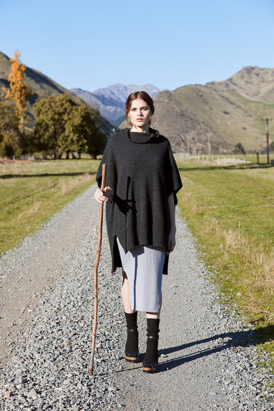 Charcoal Possum Merino Step Hem Poncho Possum Merino