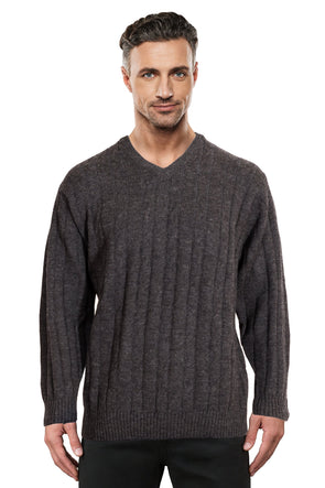 Charcoal Cable V Neck Jumper Ansett Plain Knitwear
