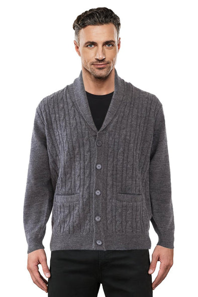 Coal Cable Shawl Neck Cardigan - SIZE 2XL ONLY