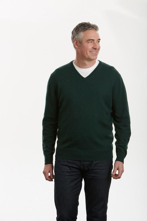 Ansett Wool Forest Green Machine Washable V Neck Jumper (3XL Only)