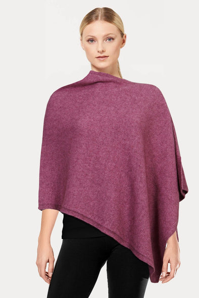 Heather Plain Possum Poncho Possum Merino