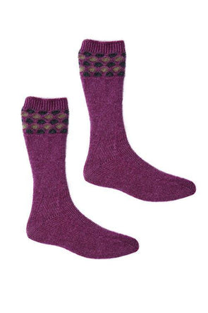 Heather Possum Merino Wave Trim Socks Possum Accessories