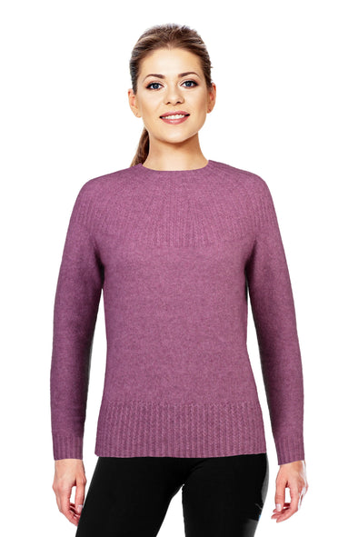Heather Possum Merino Yoke Neck Cable Jumper Possum Merino