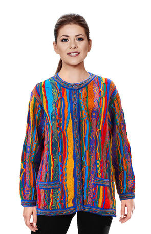 Kanga - Bright Ladies Long Cardigan Geccu 3D Multi Colour