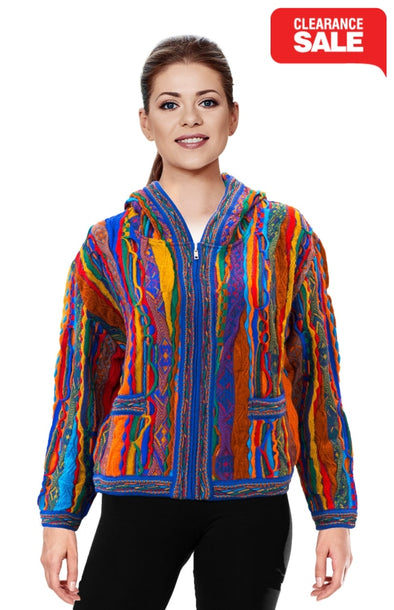 Kanga - Bright Crop Cardigan With Zip and Hood