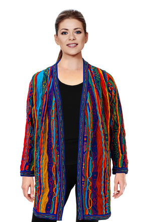 Kanga - Bright Ladies Swing Coat Geccu 3D Multi Colour