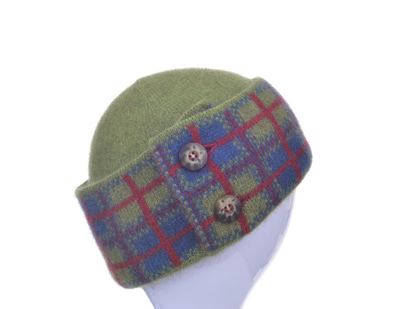 Lime Possum Merino Tartan Hat Possum Accessories