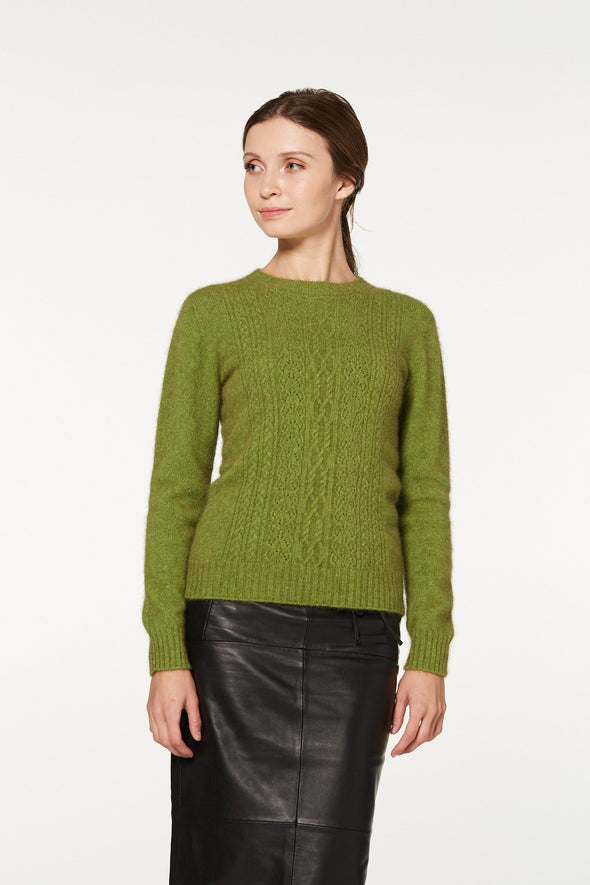 Lime - Possum Fur Crew Jumper