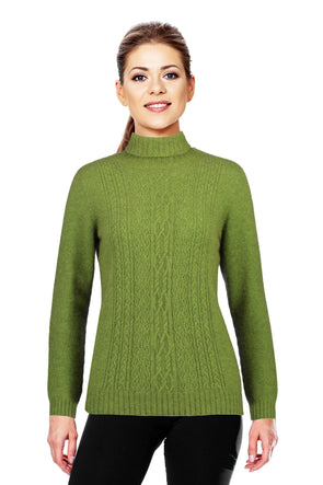 Lime - Possum Fur Polo Neck Jumper Possum Merino