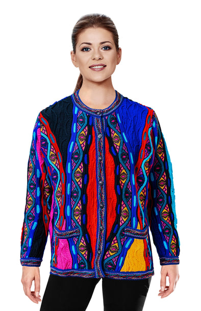 Mati - Bright Ladies Long Cardigan Geccu 3D Multi Colour