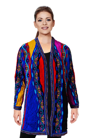 Mati - Bright Ladies Swing Coat Geccu 3D Multi Colour