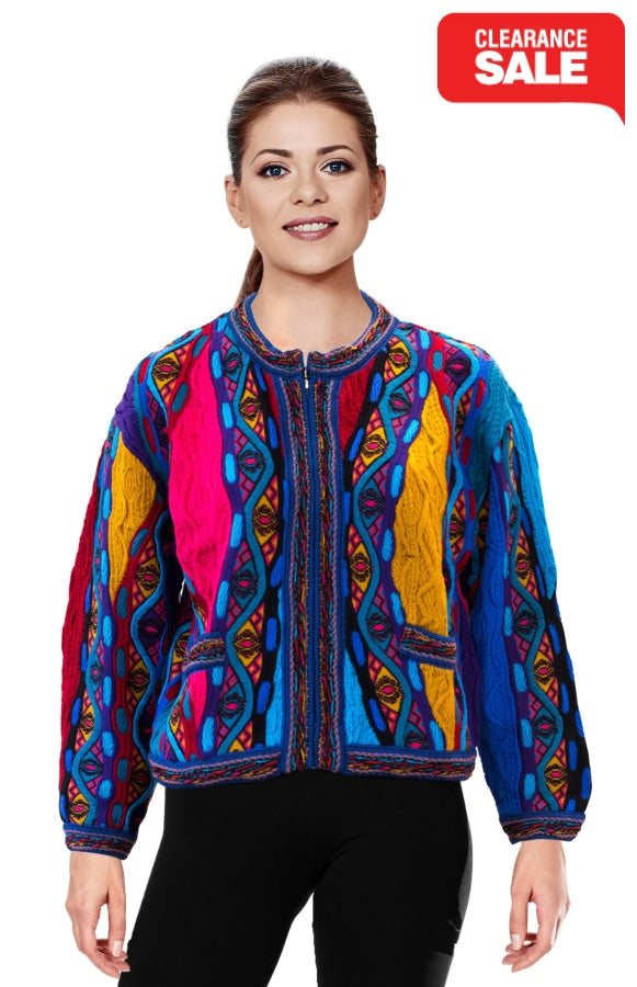 Mati - Bright Crop Cardigan With Zip and Front Pockets