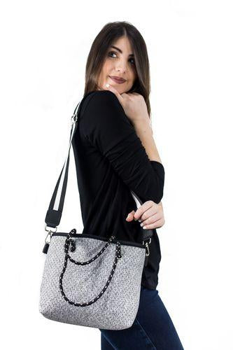 Grey Neoprene Mini Tote Bag