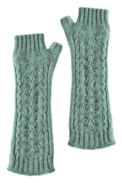 Mint Possum Merino Open Finger Cable Gloves