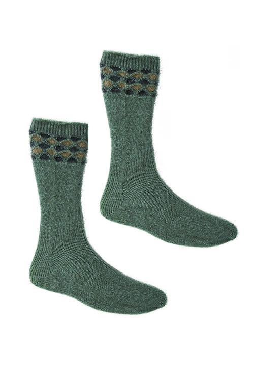 Mint Possum Merino Wave Trim Socks