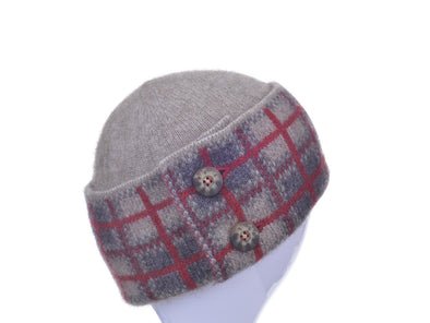 Mocha Possum Merino Tartan Hat Possum Accessories