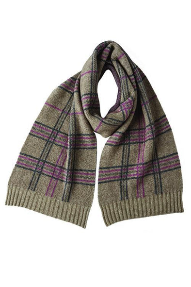 Mocha Possum Merino Broad Check Scarf Possum Accessories