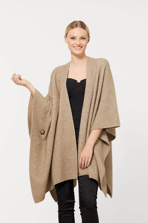 Possum Merino Cape With Button (3 Colours Available) One Size / Mocha Possum Merino