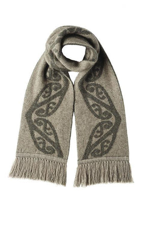 Mocha Possum Merino Koru Fringed Scarf Possum Accessories