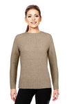 Mocha Possum Merino Yoke Neck Cable Jumper Possum Merino