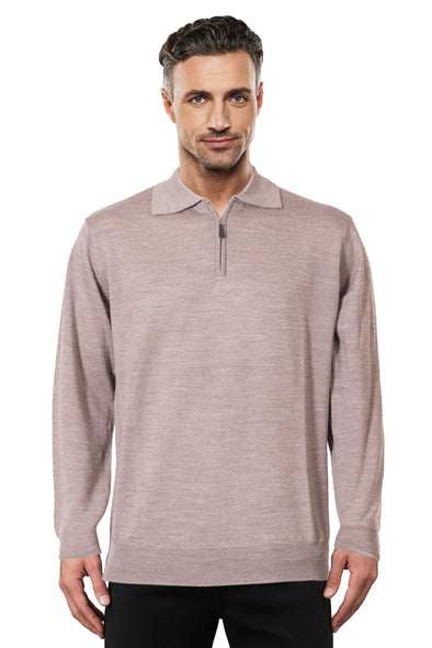 Mouse Brown Half Zip Fine Merino Ansett Plain Knitwear
