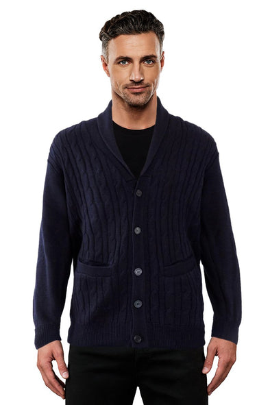 Navy Cable Shawl Neck Cardigan - SIZE L ONLY
