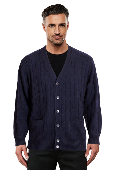 Navy Cable Knit Cardigan Ansett Plain Knitwear