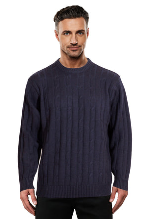 Navy Cable Crew Neck Jumper Ansett Plain Knitwear