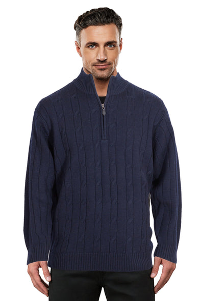 Navy Half Zip Cable Jumper Ansett Plain Knitwear