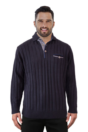 4516 Navy Collar - Tradewinds By Ansett Ansett Plain Knitwear