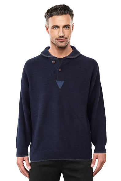 Navy Shawl Neck Jumper Ansett Plain Knitwear