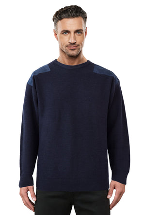 Navy Jumper With Navy Elbow And Shoulder Patches