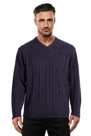 Navy Cable V Neck Jumper Ansett Plain Knitwear